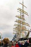 Rostock Niemcy, Sierpień, - 2016: Żeglowanie statek Krusenstern na morzu bałtyckim Obraz Royalty Free