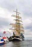 Rostock Niemcy, Sierpień, - 2016: Żeglowanie statek Krusenstern na morzu bałtyckim Obrazy Royalty Free