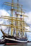 Rostock Niemcy, Sierpień, - 22, 2016: Czteromasztowy barque Kruzenshtern Fotografia Royalty Free