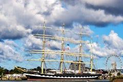 Rostock Niemcy, Sierpień, - 22, 2016: Czteromasztowy barque Kruzenshtern Obrazy Stock