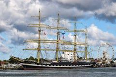 ROSTOCK NIEMCY, SIERPIEŃ, - 2016: Krusenstern Czteromasztowy barque Kruzenshtern Zdjęcie Royalty Free