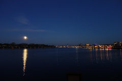 Rostock, Northern Germany. Night view of Rostock`s harbour in Northern Germany Stock Photo