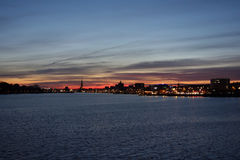 Rostock, Northern Germany. View of the city of Rostock, Northern Germany, at sunrise Royalty Free Stock Image