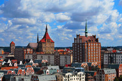 Rostock Panorama. The view of the old part of Rostock (Germany Royalty Free Stock Images
