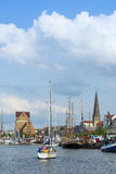 Rostock at river Warnow Stock Photos