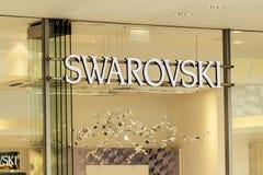 ROSTOCK TYSKLAND - MAJ 12, 2016: Shopwindow av det Swarovski lagret Fotografering för Bildbyråer