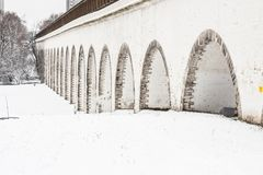 Rostokinsky aqueduct. Arch over the river Yauza. Moscow. Rostokinsky aqueduct. Arch over the river Yauza Stock Photo
