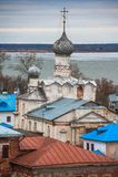 rostov Ρωσία Εικόνα της αρχαίας πόλης του Ροστόφ, άποψη από την κορυφή Όμορφα σπίτι και παρεκκλησι Στοκ φωτογραφίες με δικαίωμα ελεύθερης χρήσης
