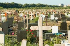 Rostov - on - Don central cemetery. Rostov - on - Don, Russia - August 08, 2015: Rostov - on - Don central cemetery is founded in 1972 year. The biggest cemetery stock photo