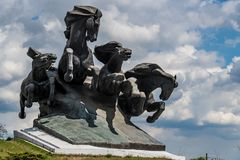 ROSTOV-ON-DON, RUSSIA - APRIL 23, 2018: Monument to Tachanka or Civil War in Rostov-on-Don royalty free stock photography