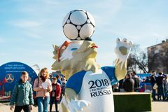 ROSTOV-ON-DON, RUSSIA - 01 APRIL, 2018 The official mascot of the 2018 FIFA World Cup and the FIFA Confederations Cup 2017 wolf Za. Bivaka on the on Theatrical stock photo