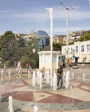 ROSTOV-ON-DON, RUSSIA-AUGUST 28 - A girl covers her ass fountain Royalty Free Stock Images