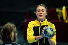 ROSTOV-ON-DON, RUSSIA - CIRCA OCTOBER 2017: Close up Russian handball player Yulia Managarova. With ball in her hands. She plays for the Russian national team royalty free stock images