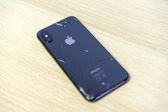 ROSTOV-ON-DON, RUSSIA - DECEMBER 20, 2018: iPhone Ten X with broken display. Modern smartphone with damaged glass screen. Device. Needs repair stock photo