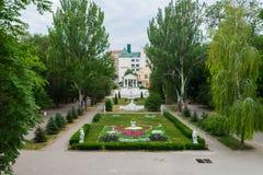 Rostov-On-Don, Russia - 25 giugno 2018: Giardino floreale nel parco di Gorkij Fotografia Stock