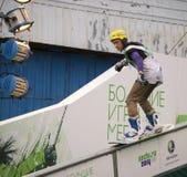 Rostov-On-Don, Russia, il 26 settembre 2013 - l'atleta salta sopra Fotografia Stock