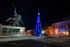 ROSTOV-ON-DON, RUSSIA - JANUARY 22, 2017: View of Soviet Square in Rostov-on-Don royalty free stock photos