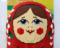 The big doll `Russian Doll` made of Lego bricks. Rostov-on-Don, RUSSIA - January 4, 2019: The big doll `Russian Doll` made of Lego bricks, in the shopping center stock images