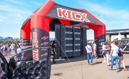 Drive Show.Competitions car audio. Visitors inspect car. Rostov-on-Don, Russia -June 09, 2019 : Drive Show.Competitions car audio. Visitors inspect car royalty free stock photo