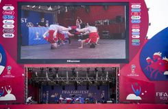 Fan Zone of the FIFA World Cup 2018 at Teatralnaya Square. Perf Royalty Free Stock Images