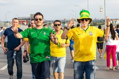 ROSTOV-ON-DON, RUSSIA - 17 June, 2018 Match day at FIFA World Cup Russia 2018 Host City Rostov-on-Don. Fans go to the match Brazil stock photography