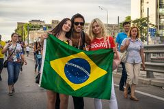 ROSTOV-ON-DON, RUSSIA - 17 June, 2018 Match day at FIFA World Cup Russia 2018 Host City Rostov-on-Don. Fans go to the match Brazil royalty free stock photography
