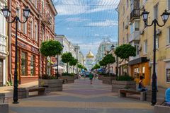 Rostov-on-Don, Russia - June 28, 2018: Peoples on street Soborniy lane or Cathedral lane. Host City Rostov-on-Don place of FIFA Wo stock image