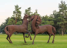 ROSTOV-ON-DON, RUSSIA - JUNE 18, 2016: Sculpture of the iron horses in the park of the city Rostov near airport stock photo