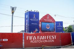 ROSTOV-ON-DON, RUSSIA - 14 June, 2018 Theater Square FIFA World Cup 2018 Host City Rostov-on-Don place FIFA FAN FEST decorated wit. H flags, banners. Meeting stock image