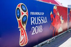ROSTOV-ON-DON, RUSSIA - 14 June, 2018 Theater Square FIFA World Cup 2018 Host City Rostov-on-Don place FIFA FAN FEST decorated wit. H flags, banners. Meeting royalty free stock photos