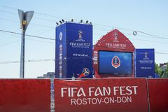 ROSTOV-ON-DON, RUSSIA - 14 June, 2018 Theater Square FIFA World Cup 2018 Host City Rostov-on-Don place FIFA FAN FEST decorated wit. H flags, banners. Meeting stock photography