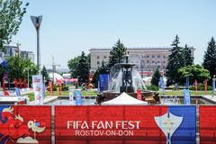 ROSTOV-ON-DON, RUSSIA - 14 June, 2018 Theater Square FIFA World Cup 2018 Host City Rostov-on-Don place FIFA FAN FEST decorated wit. H flags, banners. Meeting royalty free stock photo