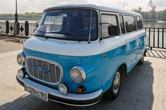 Cyan retro minivan Barkas B1000 at the show of old cars on embankment of Don river. ROSTOV-ON-DON, RUSSIA, 07 OCTOBER 2017: Cyan retro minivan Barkas B1000 at stock image