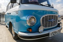 Cyan retro minivan Barkas B1000 at the show of old cars on embankment of Don river. Close-up. ROSTOV-ON-DON, RUSSIA, 07 OCTOBER 2017: Cyan retro minivan Barkas royalty free stock photography