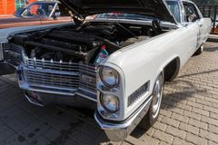 Rare car Cadillac Coupe de Ville in white colour at the exhibition of retro cars. Front view. ROSTOV-ON-DON, RUSSIA, 07 OCTOBER 2017: Rare car Cadillac Coupe de stock photo