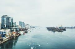 Rostov-On-Don, Russie 10 mars 2018 Rivière Don et vue du centre de la ville Organisateur de ville de la coupe du monde Photo stock