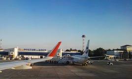 Rostov On Don, Russland - August 2017: Flughafen Rostov On Don, russische Fluglinien Aeroflot Stockfotos