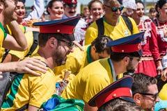 ROSTOV-ON-DON RYSSLAND - JUNI 17, 2018: Grupp av brasilianska fotbollfans Royaltyfri Foto