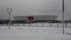 Rostov-On-Don stadion Rostov-arena i snön Royaltyfri Fotografi