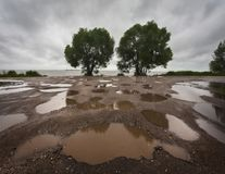 Rostov the Great after the rain. Puddles. It`s raining outside. Russian nature stock photo