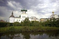 Rostov Kremlin cloud watchtower cross Royalty Free Stock Images