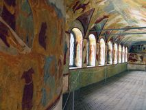 Rostov Kremlin . Dome view. Russia. Rostov. June, 17, 2017. Rostov Kremlin that is located in Rostov city . Detailed view of  a internal gallery painted in Royalty Free Stock Image