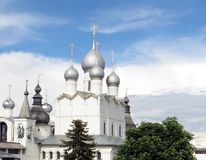 Rostov Kremlin. Domes of the cathedral of the Assumption. Russia. Rostov. June, 17, 2017. Rostov city. Kremlin. View of domes of the cathedral of the Assumption Royalty Free Stock Photos