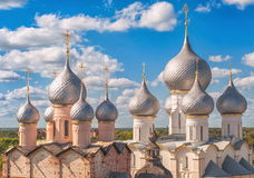 Rostov Kremlin, Russia. Towers of Rostov Kremlin near Moscow stock photos