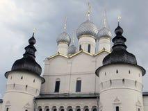 Rostov Kremlin . White church against the dark stormy sky. Russia. Rostov. June, 17, 2017. Rostov Kremlin that is located in Rostov city .The cathedral of Stock Photo