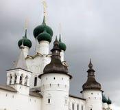 Rostov Kremlin . White church against the dark stormy sky. Russia. Rostov. June, 17, 2017. Rostov Kremlin that is located in Rostov city .  White kremlin walls Royalty Free Stock Photo
