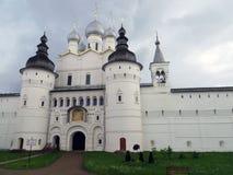 Rostov Kremlin . White church against the dark stormy sky. Russia. Rostov. June, 17, 2017. Rostov Kremlin that is located in Rostov city .The cathedral of Royalty Free Stock Image