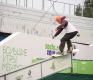 Rostov-op-trek aan, Rusland, 26 September, 2013 - de atletensprongen Royalty-vrije Stock Fotografie