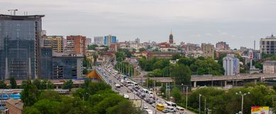 Rostov-op-trek, Rusland - Mei 18, 2018 aan: De mening van rostov-op-trekt stad aan Rusland stock foto's