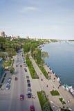 Rostov-op-trek stad aan en de rivier trekt aan Stock Afbeelding